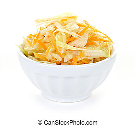 Bowl of coleslaw with shredded cabbage isolated on white...
