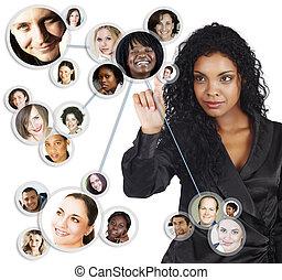 social, red, africano, norteamericano, mujer de negocios