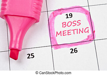 Boss meeting mark - Calendar mark with Boss meeting