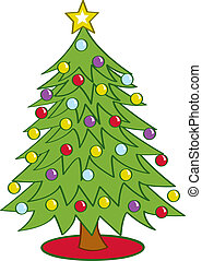 Cartoon Christmas Tree - Cartoon Christmas tree decorated...