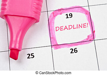 Deadline mark - Calendar mark  with Deadline