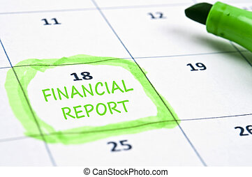 Financial report mark - Calendar mark with Financial report