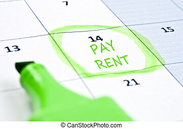 Pay rent mark - Calendar mark  with Pay rent