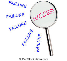 Failure and success text magnified on white