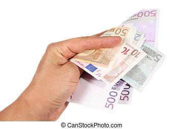 Hand holding euro bills