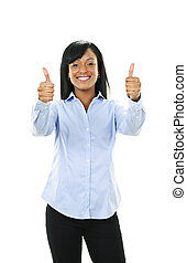 Smiling young woman giving thumbs up