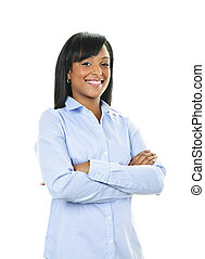 Smiling young woman with crossed arms - Smiling black woman...