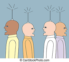 Wireless Guys - Four men with antennae coming out of their...