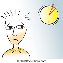 Deadlines - A man staring at the clock with a worried look...