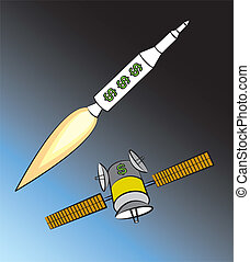 Commercializing Space - Rocket and satellite with dollar...