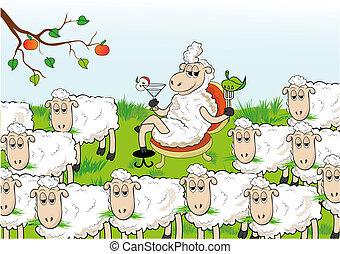 Standing out - Enterprising sheep separated from the herd....