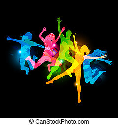 Healthy Young Adults Active jumping people Vector...