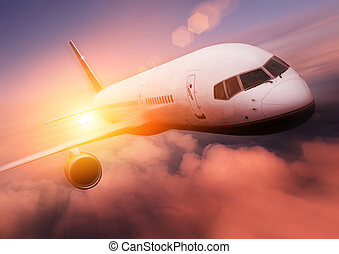 Coucher soleil, avion, voyage