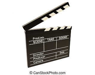 Movie clapper - Isolated cinema clapper on a white...