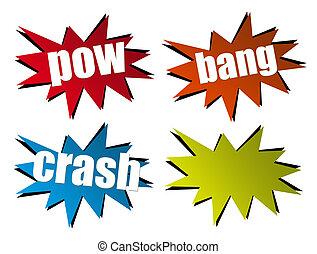 Hits illustration - Pow, bang, crash illustration on white...