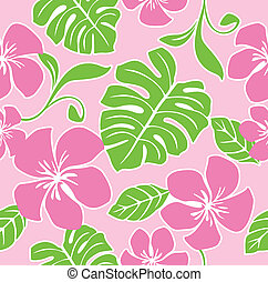 Seamless Hawaiian Summer Pattern - Illustration of a...