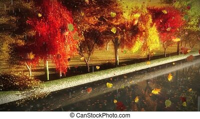 1056 City autumn park trees rain - Great for themes of...