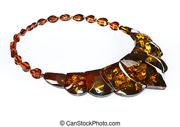 Amber necklace - Beautiful necklace of amber in a white...