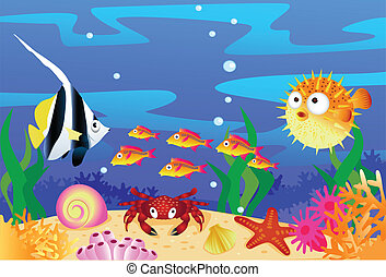 Sea life - vector illustration of sealife