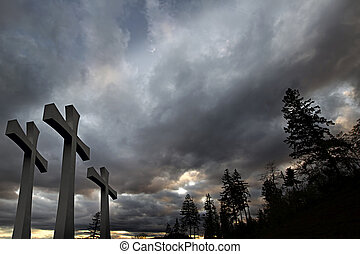 Good Friday Easter Day Crosses Clouds Trees Background -...