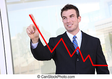 Man Making Graph Chart - Handsome business man drawing a...