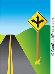 Three Way Sign - Sign depicting a three-way fork in the road...