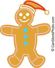 Gingerbread Man - Happy gingerbread man with Santa Hat.