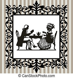 Tea time with frame - Retro victorian illustration, man and...