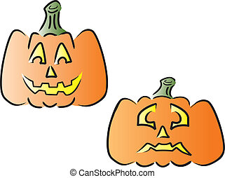 Two Jack O Lanterns - Two smiling pumpkins. Vector images...