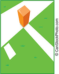 Pylon and Goal Line - View of a goal line, side line and...