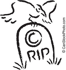 RIP Copyright - Copyright symbol on a tombstone with a Raven...