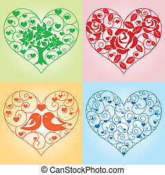 Set of floral hearts - Set of beautiful floral hearts