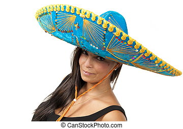 Mexican - Studio shot of beautiful Girl with mexican hat