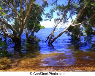 Mangroves 1 - Painting of a view from inside the mangroves