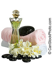 thalassotherapy - Perfume,Rocks, flowers, fans and towels on...
