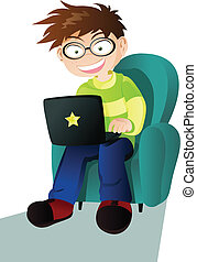 A boy with a laptop - A vector illustration of a boy with a...