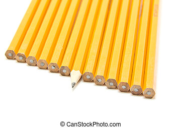 Sharp pencil - a sharp pencil sticking out form a crowd of...