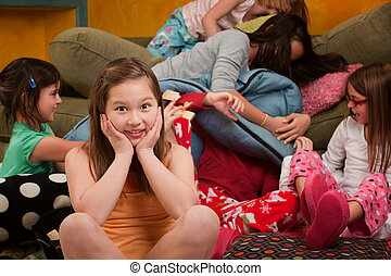 Overwhelmed at a Sleepover - Girl overwhelmed with silly...
