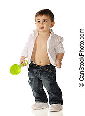 Baby Cool Dude - An adorable baby boy standing in ragged...