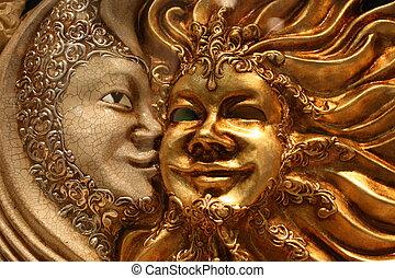 veneciano, dorado, máscara