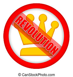 Revolution sign with golden crown isolated over white...