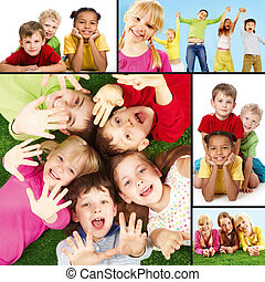Joyful children - Collage of joyful children during their...
