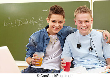 Joyful teenagers - Portrait of smart teenage guys with...
