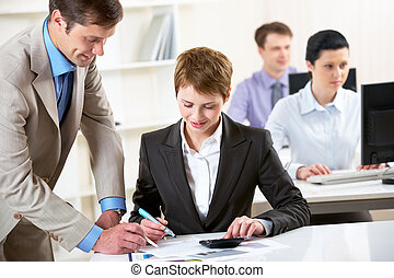 Business education - Portrait of businessman consulting...