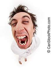 Aggressive man - Fish eye shot of screaming insane man in...