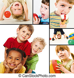 Happy childhood - Collage of children?s joyful events