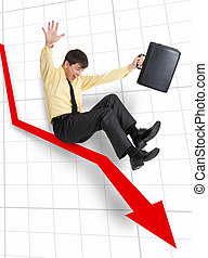 Declining business - A businessman moving down on an arrow...