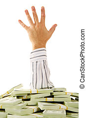 Help - A hand stretching out of pile of money