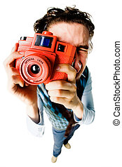 Funny photographer - Fish-eye shot of a photographer making...
