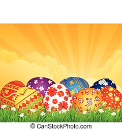 background with Easter eggs - spring background with Easter...